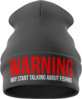 Purple Print House Fishing Gifts for Men - Warning May Talk About Fishing Embroidered Carp Fishing Beanie Hat Mens Present...
