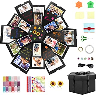 Explosion Box, Homga Gift Box DIY Scrapbook Photo Album Suprise Photo Boxes Cute Creative Gifts Memory Box with 6 Faces for Wedding Box, Birthday Party, Valentine's Day, Mother's Day (Black)
