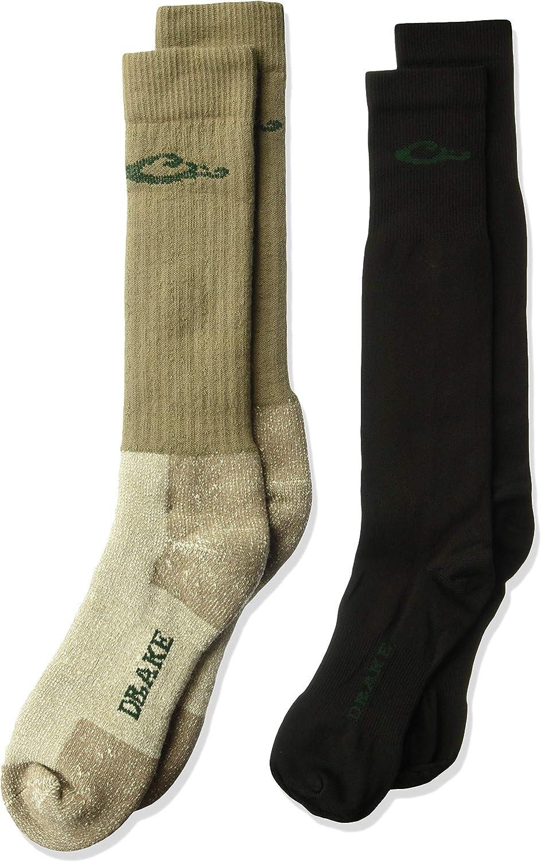 Drake Men's Merino Wool Cushion and Liner Cold Weather Boot Socks 2 Pair, Mocha/black, Large