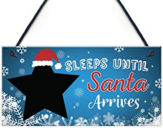 Kids Countdown to Christmas Decoration Board Sleeps Till Santa Hanging Plaque Gifts