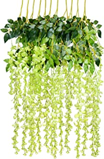 12 Pack 1 Piece 3.6 Feet Artificial Fake Wisteria Vine Ratta Hanging Garland Silk Flowers String Home Party Wedding Decor (Green)