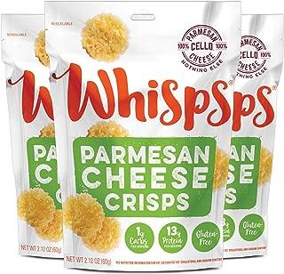Whisps Parmesan Cheese Crisps| Keto Snack, No Gluten, No Sugar, Low Car, High Protein | 2.12oz (3 Pack)