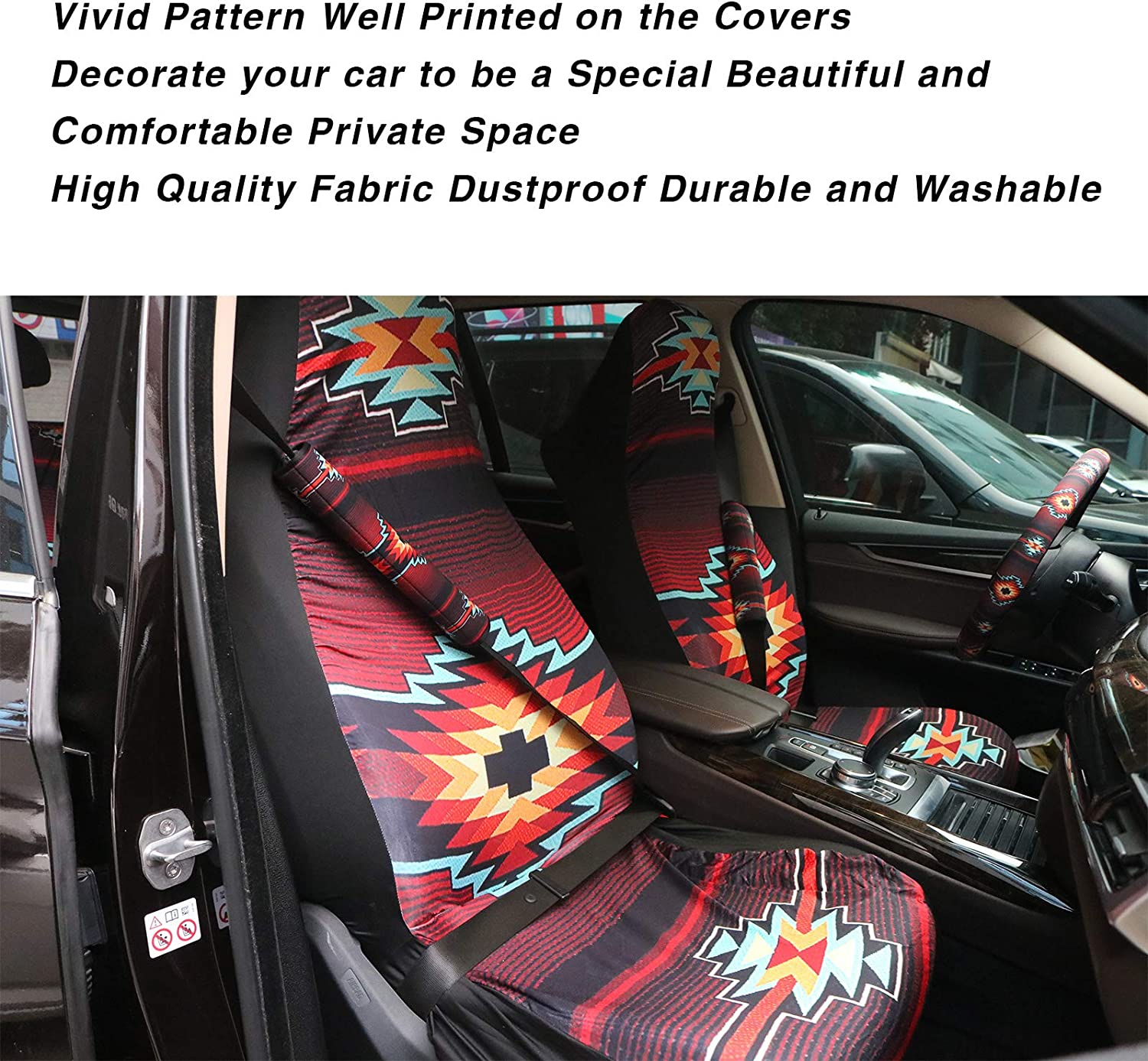 Cozeyat Hibiscus Florals Blue Blanket Car Seat Covers Hawaiian Style Slip-Resistant Easy to Install Full Set of 4 Dustproof Cars Interior Accessories