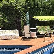 jardines y patios Cojines para balanc/ín de 4 plazas Tecnoweb - Marco no incluido 100/% Made in Italy Rigato Bianco Blu Incluidos en el repuesto tambi/én el techo a juego Ideal para exteriores