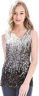 MANER Womens Sparkle Gradient Sequin Embellished Tank Top Sleeveless Scoop Neck