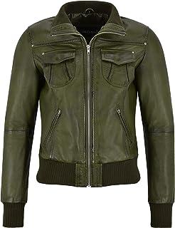 Giubbotto Bomber da Donna Olive Napa Classic Fashion Casual Biker Style 3758