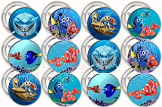"""Finding Nemo Buttons Party Favors Supplies Decorations Collectible Metal Pinback Buttons, Large 2.25"""" -12 pcs Marlin, Dory, Nigel"""