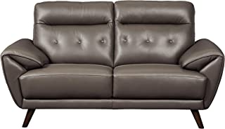 Signature Design by Ashley - Sissoko Contemporary Leather Loveseat, Gray