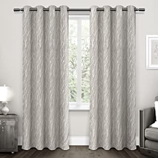 Exclusive Home Curtains Forest Hill Woven Blackout Grommet Top Panel Pair, Dove Grey, 52x96, 2 Piece