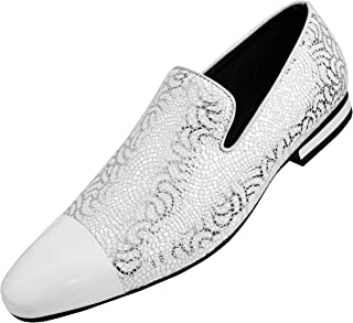 The Original Men's Metallic Lace Patterned Embossed Slip On Loafer with Matching Tip and Heal Dress Shoe, Style Saray