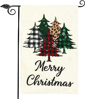 علم حديقة عيد ميلاد سعيد من Unves ، علم عيد الميلاد مزدوج الجانب الجاموس تحقق من شجرة منقوشة زينة عيد الميلاد علم الفناء ل...