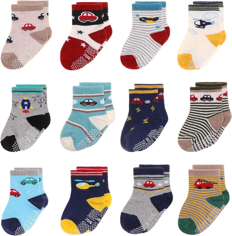 Kids Grips Socks Toddlers Infant Anti Sikd Ankle Baby Boys Girls Cartoon Cotton Socks