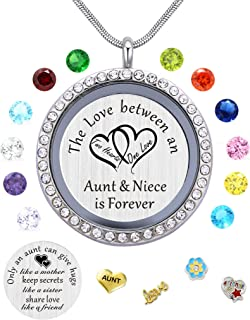Best Gifts for Niece Aunt, Floating Living Memory Locket Necklace Pendant with Charm..