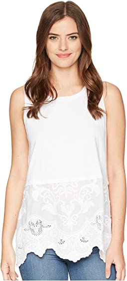 Faded Charm Sleeveless Modern Tank with Embroidered Cotton Hem