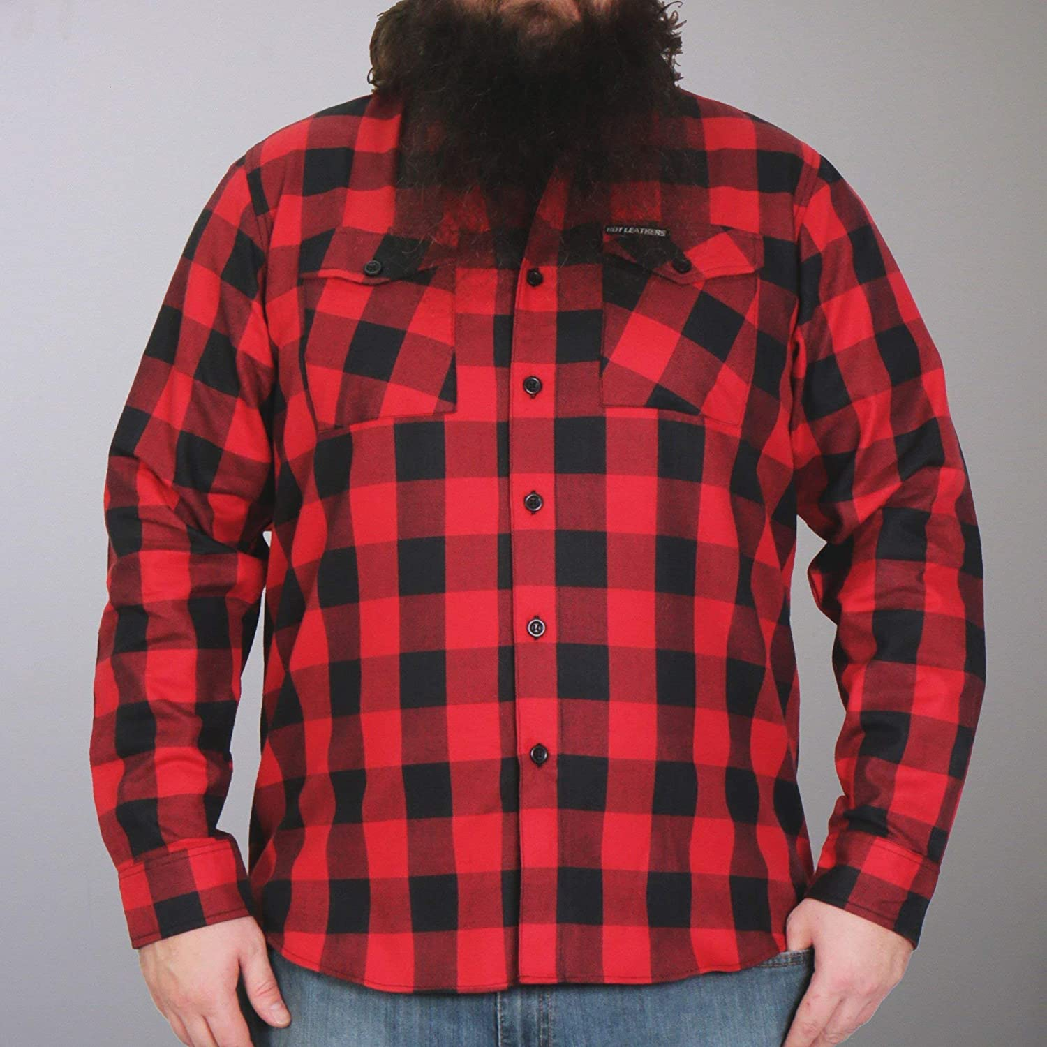 Hot Leathers FLM2002 Mens Black and Red Long Sleeve Flannel Shirt