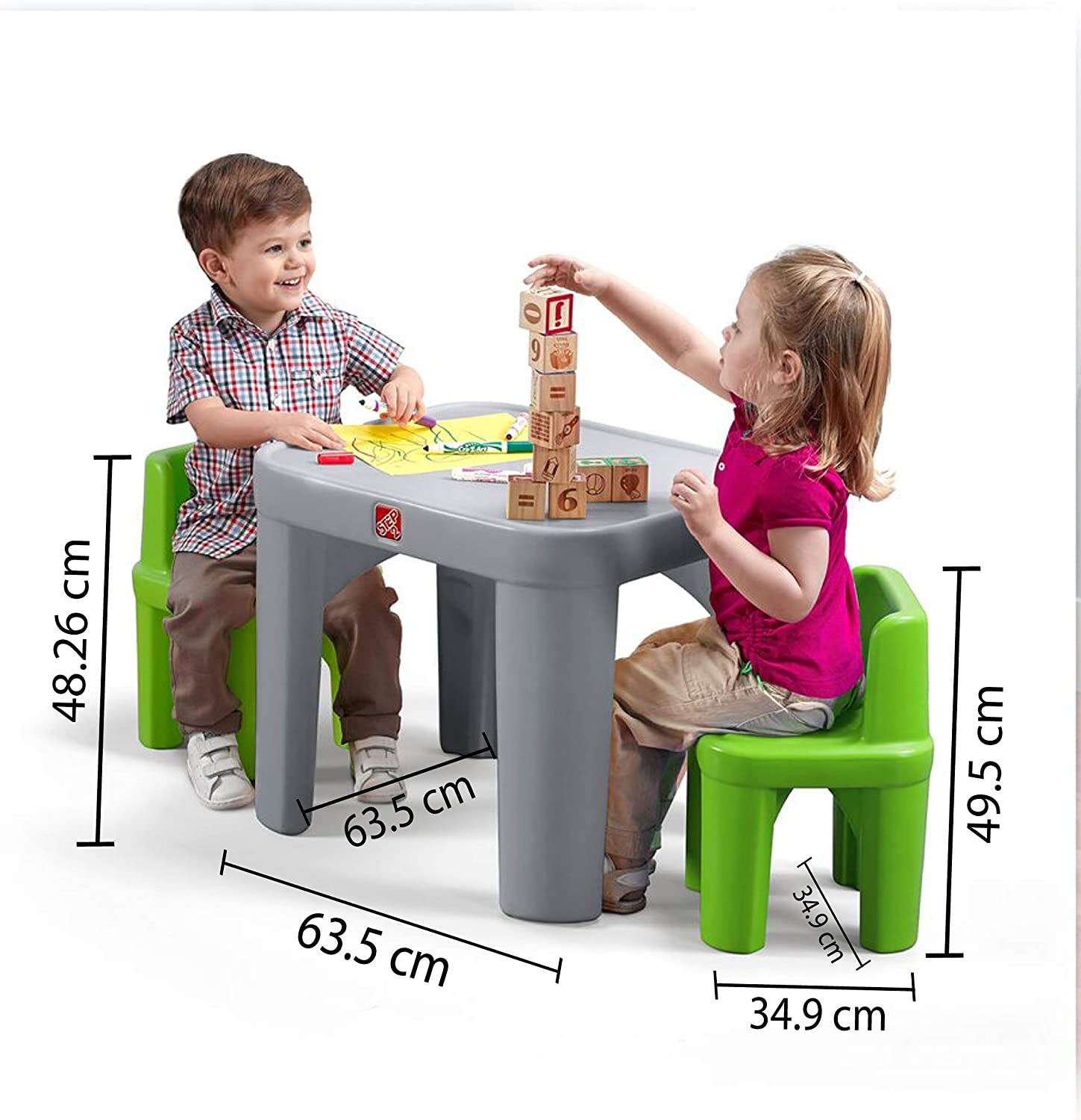 Step9 9 Mighty My Size Table & Chairs Set, Grey, Green ...