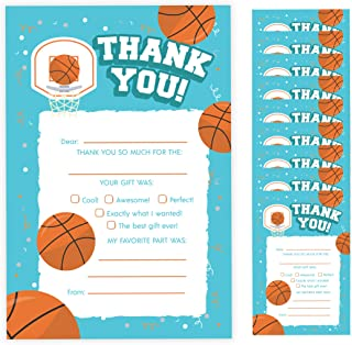 Basketball Thank You Cards (10 Count) With Envelopes Bulk Birthday Party Bridal Blank Graduation Kids Children Boy Girl Baby Shower (10ct. Fill-In Thank You)