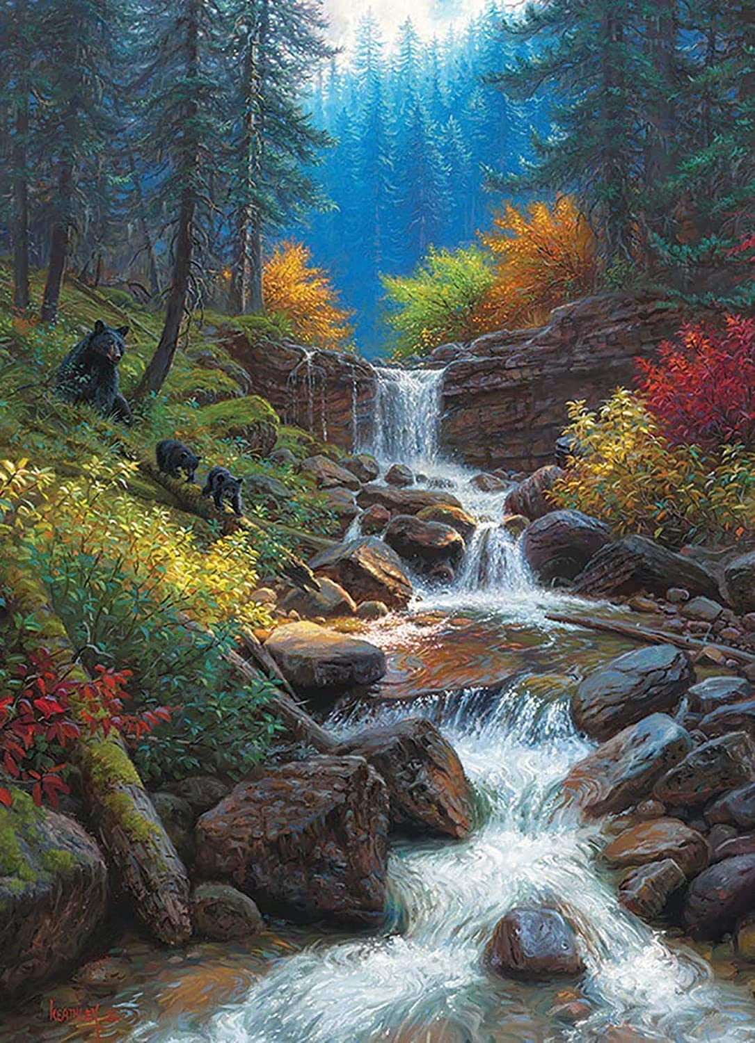 5D Diamond Painting Landscape, Paint with Diamonds DIY Diamond Art Forest Woods Streams, Diymood Painting by Number Kits Full Drill Rhinestone for Home Wall Decor 12x16inch