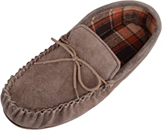 Mens Brown Suede Moccasin Slippers with Tartan Style Cotton Lining and Hard Sole. Size 12