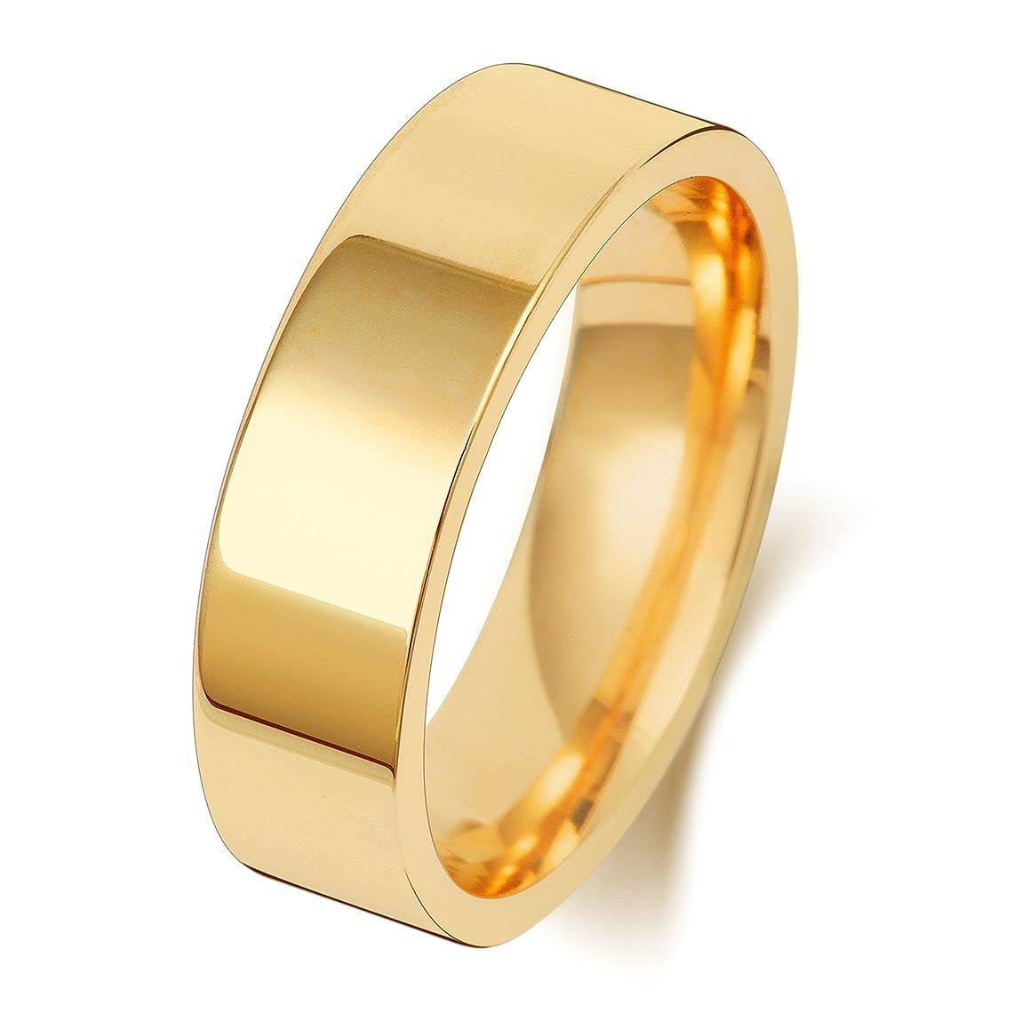 程度解釈的有用9K 9金イエローゴールド 6mm 男性 女性 ウェディングバンド マリッジリング(結婚指輪) WQS189909KY