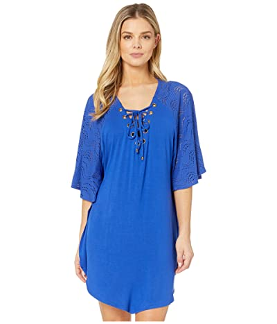 DOTTI Resort Solids Grommet Lace-Up Mixed Media Tunic Cover-Up (Royal) Women