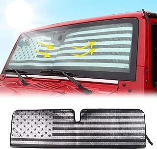 RT-TCZ Windshield Sunshade Sun Shade Heat Shield Sun Visor Mat for Jeep Wrangler Rubicon Sahara TJ JK JKU 2 Door & 4 Door(US Flag) …