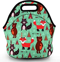 Violet Mist Neoprene Lunch Bag Tote Reusable Insulated Waterproof School Picnic Carrying Lunchbox Container Organizer For Men, Women, Adults, Kids, Girls, Boys(Tribal Zoo)