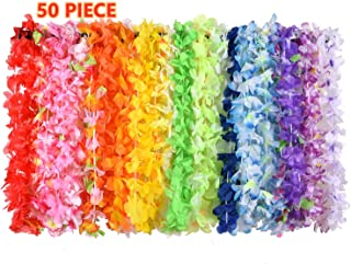 XADP 50 Counts Hawaiian Leis Necklace Tropical Luau Hawaii Silk Flower Lei Bulk Party Favors,Kids or Adults Luau Party Decorations and Party Supplies