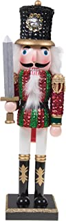 Clever Creations Traditional Wooden Sequin Soldier Nutcracker with Sword Red and Green Uniform | Festive Christmas Decor | 14