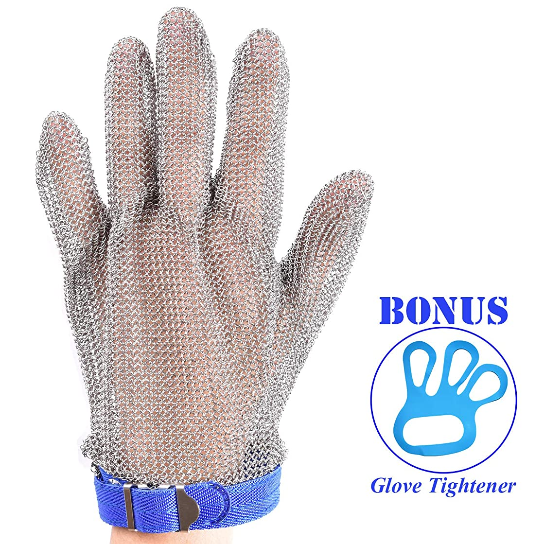 Stainless Steel Mesh Cut-resistant Glove - Chain Mail Glove for Hand Protective, Safety Glove for Home Kitchen, Butcher, Oyster, Garment. Fish Worker (Large)