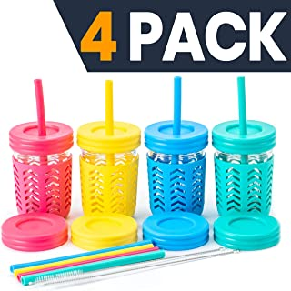 Toddler Cups/Kids Cups by JumpinJars! 4 Kids Mason Jar Cups with Straw (x8), 8x Lids, 4x Jackets, 2x Straw Cleaners! Spill Proof Cups For Kids – Kids Tumbler with Straw – 8oz Kid Drinking Glass