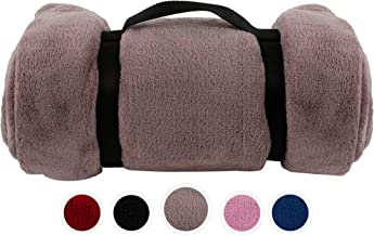 Pembrook Fleece Travel Blanket w/Handle - Gray - Super Soft and Warm Plush Coral Micro Fleece – Sizes 51 X 63 inches – Great for Couch, Bed, Sofa, loveseat, Travel, Picnic, Flight