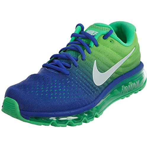 buy popular 74243 cc6aa Nike Mens Air Max 2017 Running Shoes Paramount Blue White Electro Green  849559-