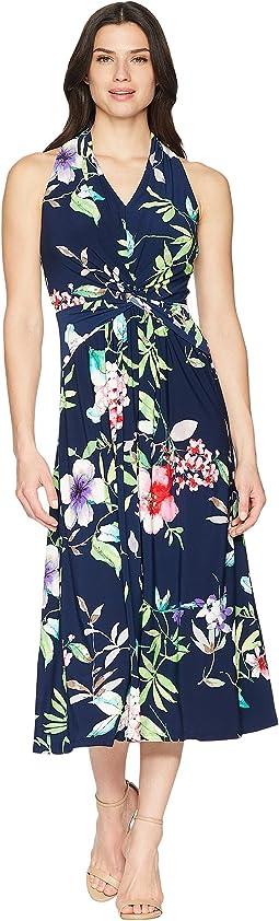 Floral Twist-Front Jersey Dress