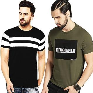 Leotude Regular Fit Half Sleeve Printed Combo Tshirt for Men