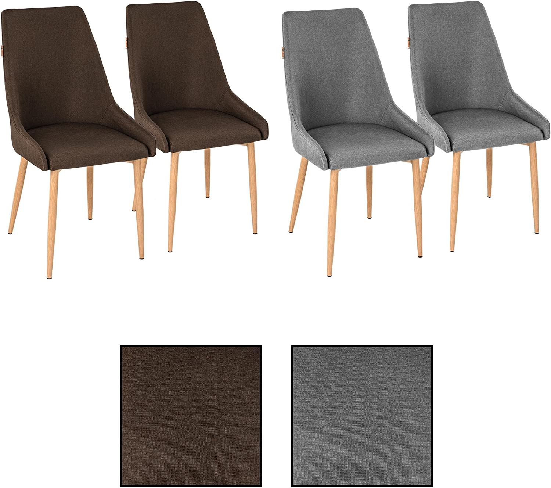 ESTEXO 4X Retro Esszimmerstühle Stoffbezug braun Küchenstühle Stühle Esszimmer