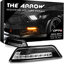 OPT7 Arrow Sequential Mustang LED Front Turn Signal Pair w/Switchback DRL for 15-17 - White Amber Light Left Right [Clear]