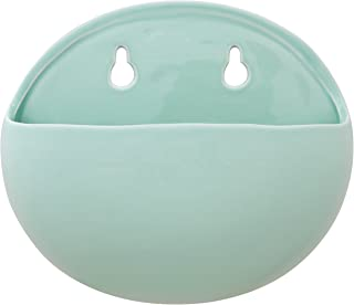 "Amazon Brand – Rivet Rounded Wall Mount Planter, 6.25""H, Modern Earthenware, Aqua"