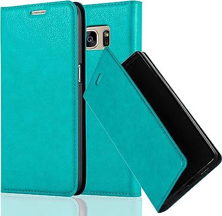 Cadorabo Hülle für Samsung Galaxy S7 - Hülle in Petrol TÜRKIS – Handyhülle mit Magnetverschluss, Standfunktion und Kartenfach - Case Cover Schutzhülle Etui Tasche Book Klapp Style