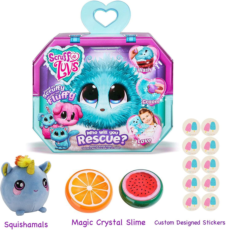 Gift Bundle Little Live ScruffALuvs (Aqua) with 3.5 Squishamals and Magic Crystal Slime  By Simple Joy