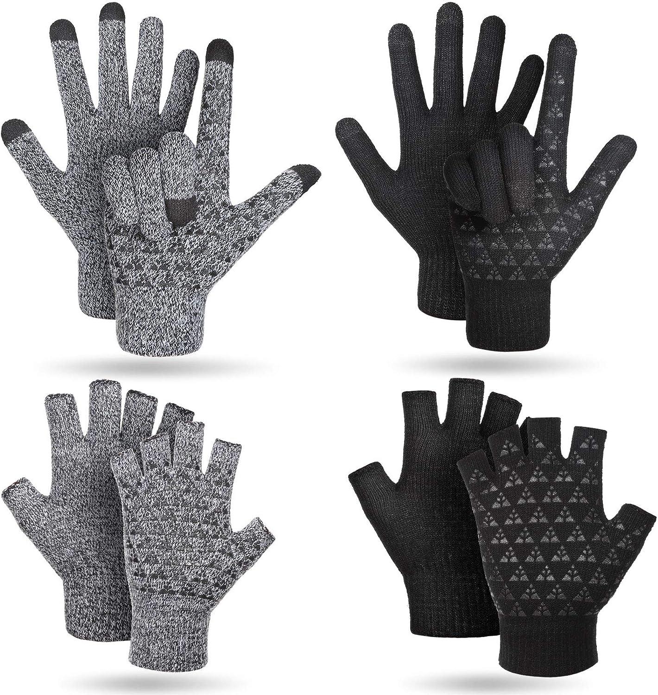 4 Pairs Winter Fleece Lined Gloves Touchscreen Non-Slip Knit Gloves Warm Knitted Full Ginger Gloves Thermal Stretchy Half Finger Gloves for Women Men