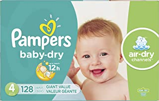 Diapers Size 4 (128 Count) - Pampers Baby Dry Disposable Baby Diapers, Giant Pack