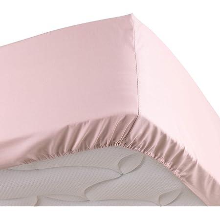 douceur d'intérieur drap housse 2 personnes 140 x 190 cm percale uni percaline rose