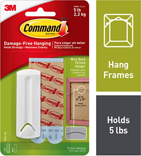 Command Wire-Back Plastic Picture Hanger, Holds 2.2 kg, No Drilling, Holds Strong, No Wall Damage (1 hanger, 2 strips) product image