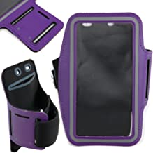 DURAGADGET Premium Quality Unisex Sports Armband in Purple - Compatible with The New ZTE Blade L3 / Blade Plus/Blade V220 / KIS II MAX - Perfect - Compatible with Running, Cycling & The Gym!