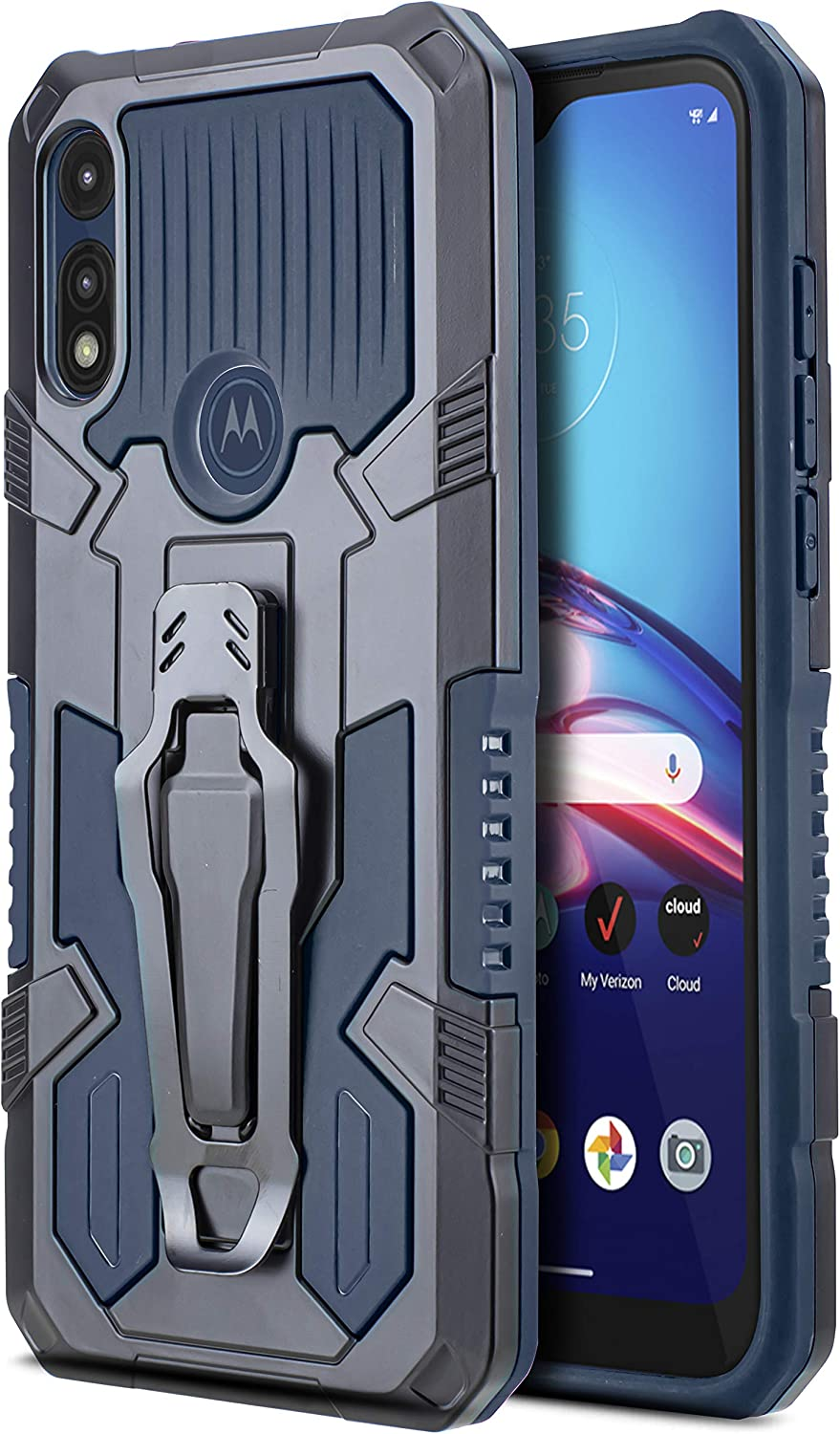 CasemartUSA Phone Case for [Motorola Moto E (2020)], [Apex Series][Navy Blue] Shockproof Cover with Belt Clip and Kickstand for Moto E (2020) T-Mobile, Metro, Boost, Consumer Cellular, Simple Mobile