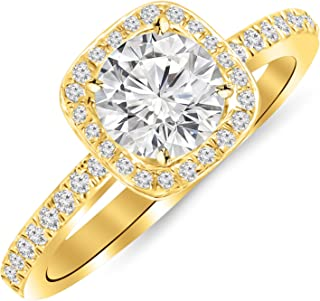 1 Carat Classic Halo Style Cushion Shape Diamond Engagement Ring in Yellow Gold with a 0.75 Carat...