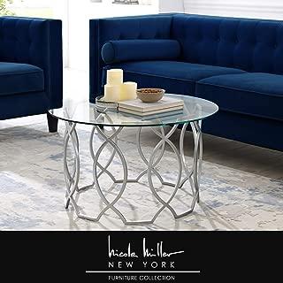 Nicole Miller Irina Coffee Table - Round Glass Top   Elegant Metal Frame   Silver
