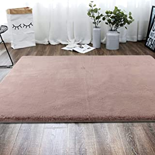Freshmint Luxury Indoor Area Rug 3 x 5 Feet, Silky Smooth Ultra Soft Rabbit Fur Rugs Floor Mat Fluffy Carpet for Dining Room Bedroom Home Decor, Pink
