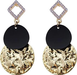 أقراط الأوركيد الفن الأبيض والأسود للنساء مطلية بالذهب استرخى إسقاط الأزياء الهندسية بيان المجوهرات